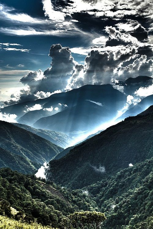 Beautiful Nature amazing sun rays through the cloud