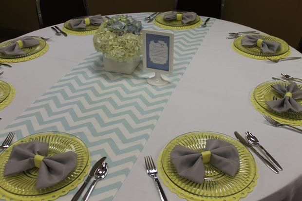 Bow Tie Baby Shower Centerpieces | Gray Blue Yellow Baby Shower - Baby Shower Ideas - Themes