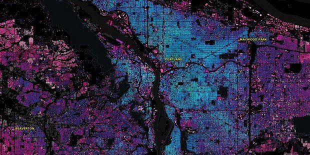 Striking data visualizations map Portland crime and development over time.