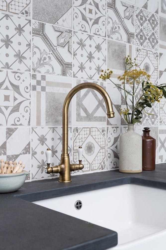 monochromatic patchwork tiles grey