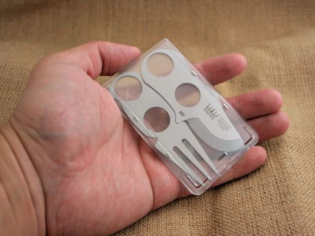 Card Cutlery is the size of a credit card and fits easily into a pocket, purse, wallet or glove box making it ideal for everyday carry.