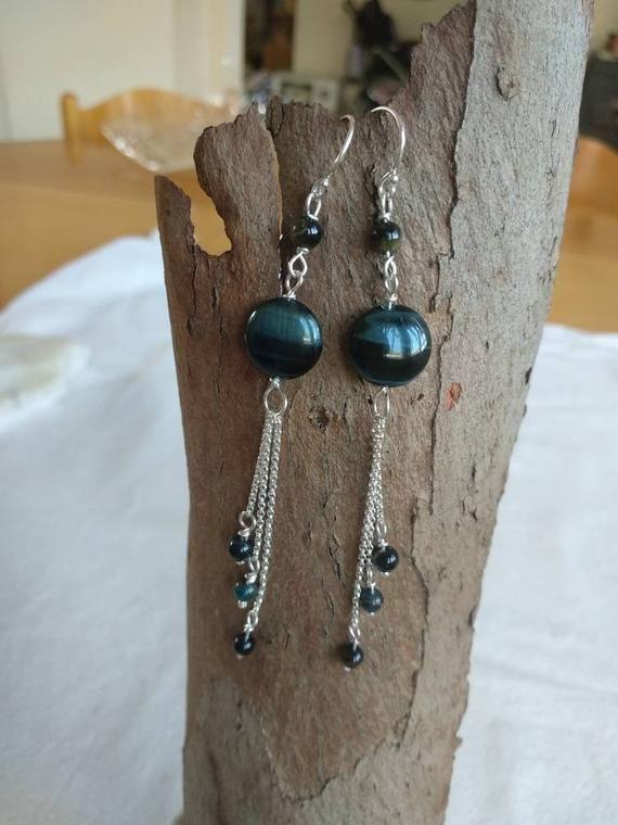 Stunning Blue Tigereye Silver Earrings ~ Handmade Natural Stone Tiger Eye Earrings Will Glow On Your Ears!