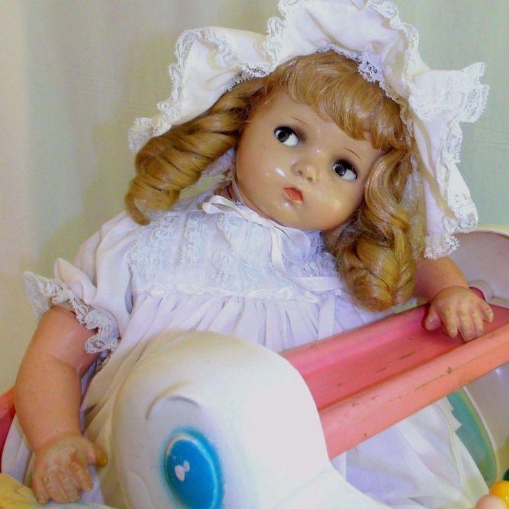 Antique Composition Flirty Eyes Big Baby Doll Stuffed Body Chubby Baby Crazy Eye   Dolls & Bears, Dolls, By Material   eBay!