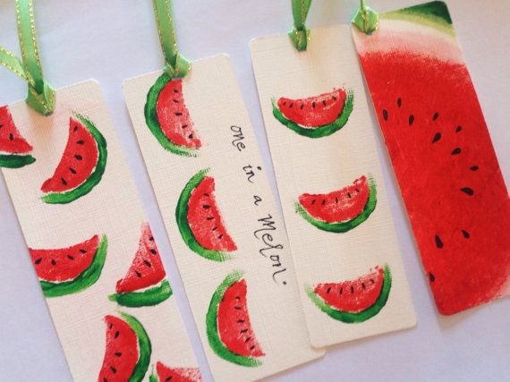 Watermelon bookmarks 4 for 300 Cute bookmarks With or wothout ribbons Watercolor Acrylic paper Pen