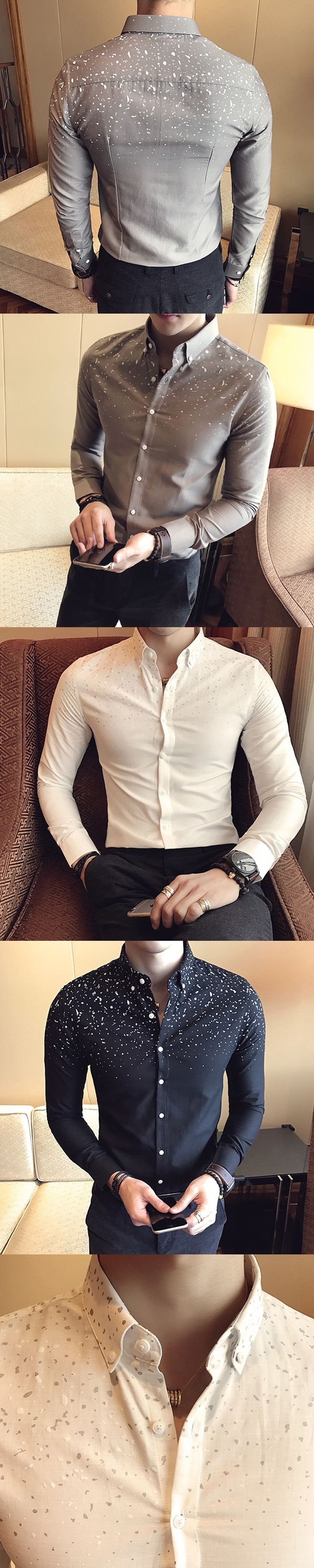 Flowered Mens Shirts British Style Casual Men White Shirts Camisa Social Slim Fit Club Camisas Hombre Flores Herren Hemd Weiss
