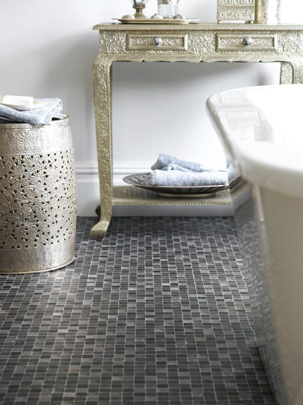 Stunning Use Of Metal Effects In The Bathroom Great Idea. Vinyl Flooring ...