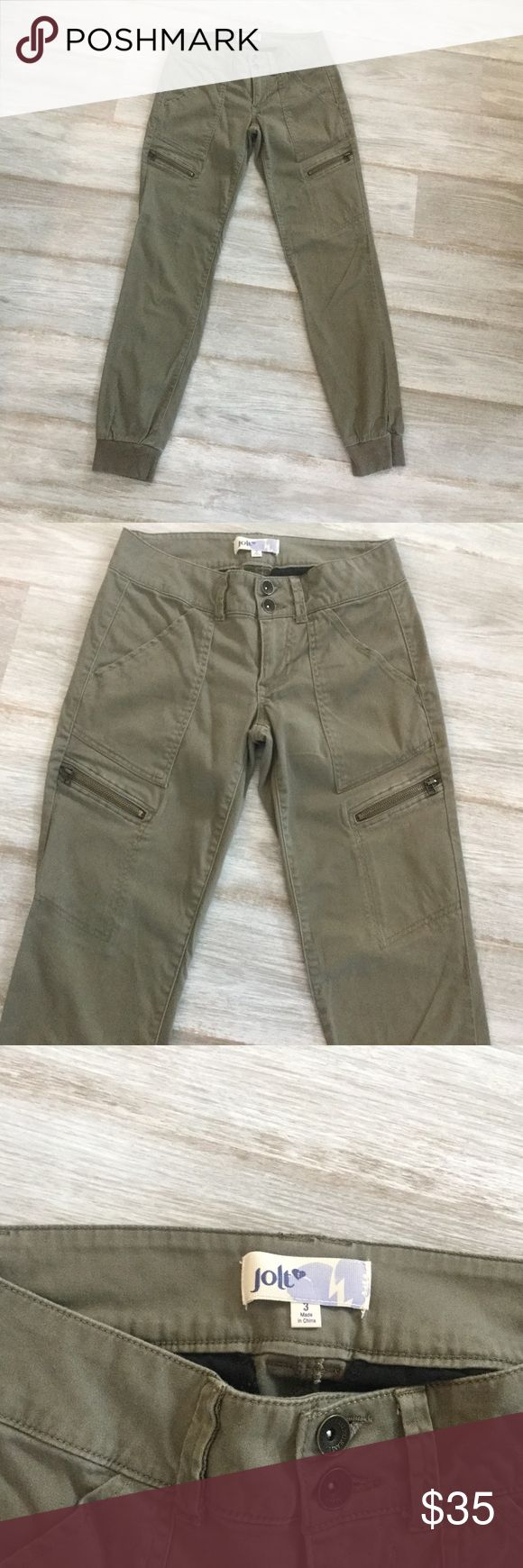 Jolt Green Joggers! Green Jolt Joggers. Perfect condition! Cargo style with cool zippers. Double button closure. 97% cotton, 3% spandex Jolt Pants