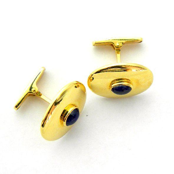 gemelos forma ovalada brillo con piedra zafiro azul oro amarillo