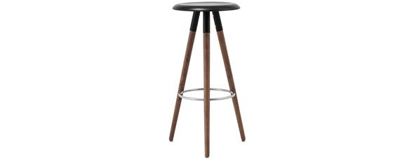 "Vig barstool, available in different colors. As shown, black lacquered/walnut. H30½xØ16¾"". [Vig - 1810] Article no.: 402018100014059 $199"