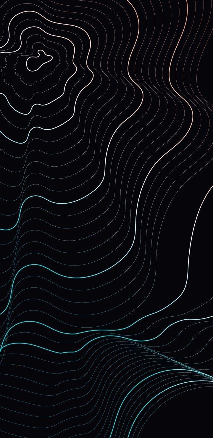 Waves on black background