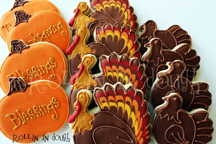 Thanksgiving Cookies, Turkey Cookies, Holiday Cookies, Pumpking Cookies, Giving Thanks Cookies by rollinindough on Etsy https://www.etsy.com/listing/167740101/thanksgiving-cookies-turkey-cookies