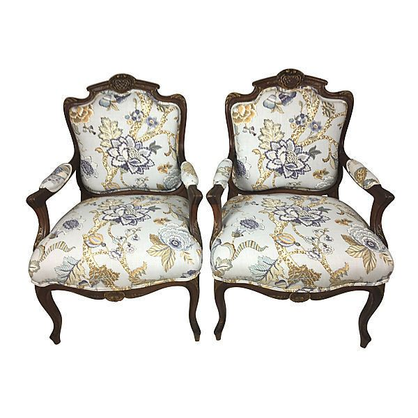 Pre-Owned Antique French Walnut Fauteuils Pair ($2,195) ❤ liked on Polyvore featuring home, furniture, chairs, walnut wood furniture, floral furniture, second hand furniture, second hand chairs and walnut chairs