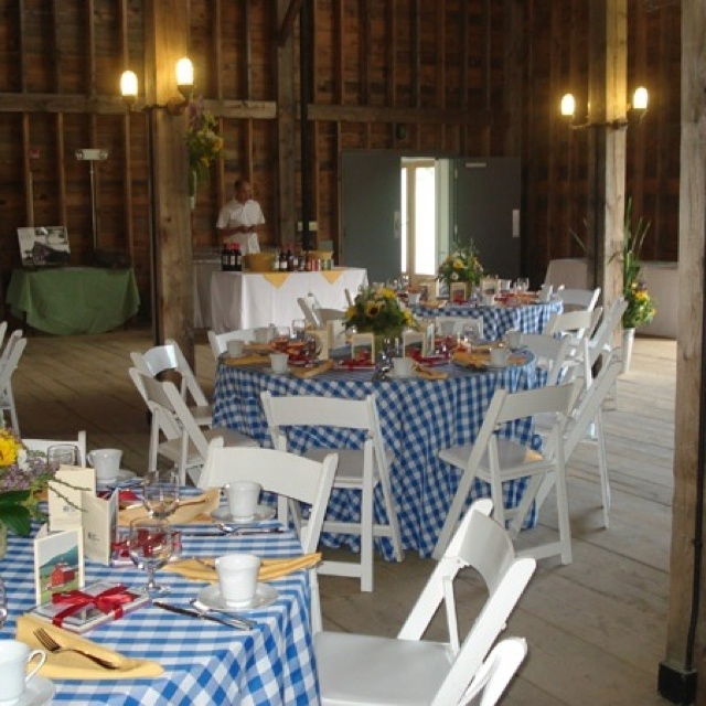 gingham blue tablecloths with sunflower centerpieces
