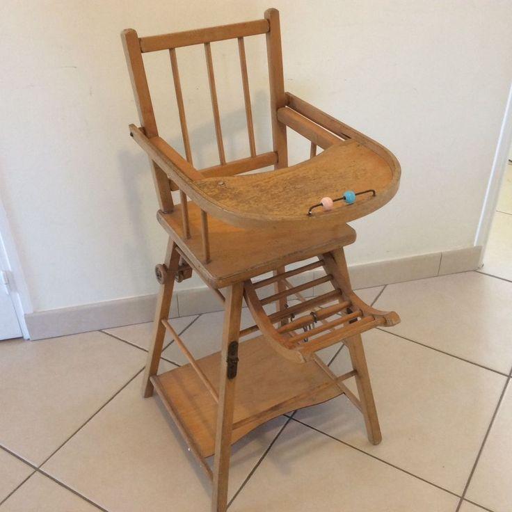 Ancienne chaise haute bebe enfant en bois massif pliante avec roulettes berceau lit chaise - Chaise bebe en bois ...