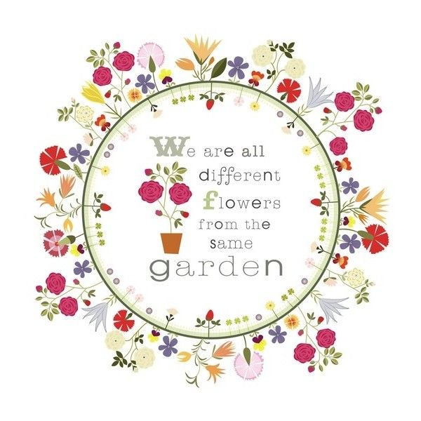 CbyC Original Illustration Flower Circle Garden Quote Limited Edition... ❤ liked on Polyvore