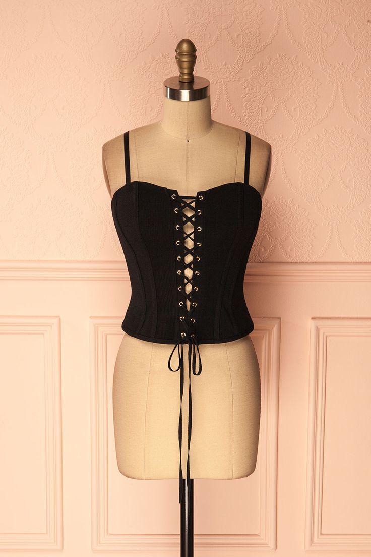 Black laced ribbed corset - Corset noir côtelé lacé