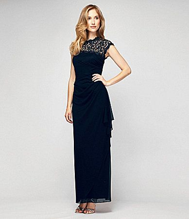 Alex Evenings OpenBack LaceYoke Dress #Dillards