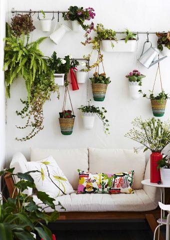 Ein Hängegarten an einer ungenutzten Wand bietet einen hübschen Blickfang.