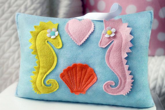 Seahorse Pillow,  Seahorse Nursery, Seahorse Pillow, Nautical Pillow, Travel Pillow, Baby Seahorse, Baby Shower Seahorse, Tooth Fairy Pillow