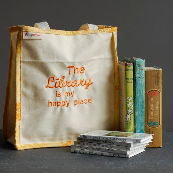 Library bag, Canvas book and tote bag - 100% organic cotton