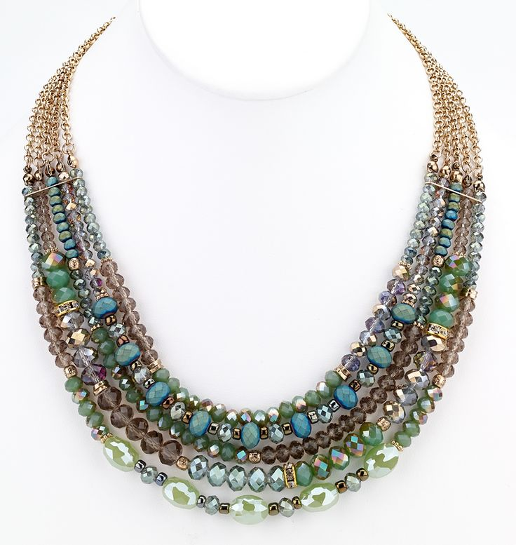 Beaded Glass Statement Necklace - Green | Girl Intuitive