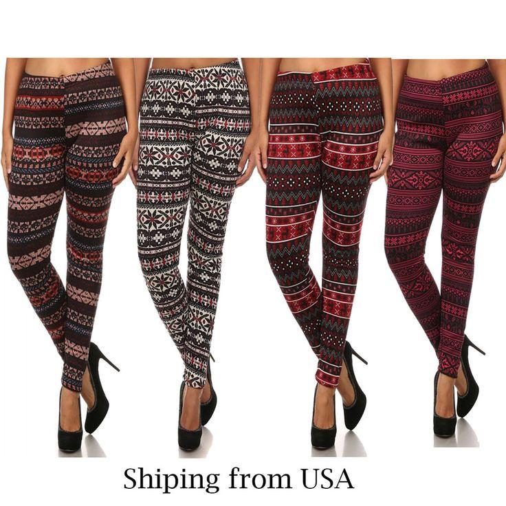 Plus Size Fur Lined Print Leggings Warm Winter Fleece Stretch Pants 1X 2X 3X 4X #TDCollections #Seamless #Winter