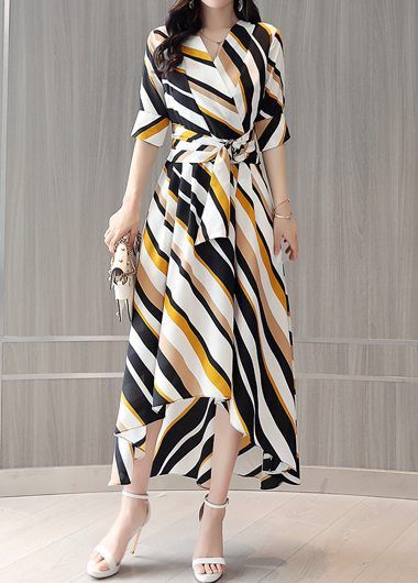 7933eef13c2 Stripe Print Half Sleeve Belted Maxi Dress