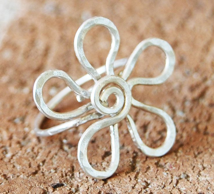 Large Flower Ring, Sterling Silver, Wire, Wire Jewelry. $32.00, via Etsy.