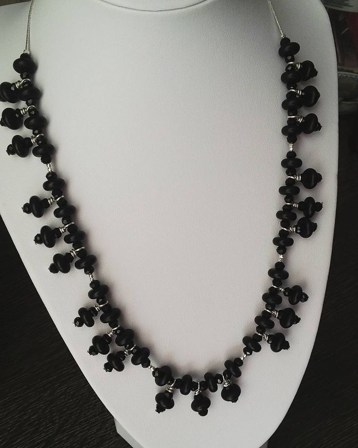 Black Stone, #silver, black #crystals form this beautiful short necklace. This is what happens when you watch vampire movies while crafting. #black !