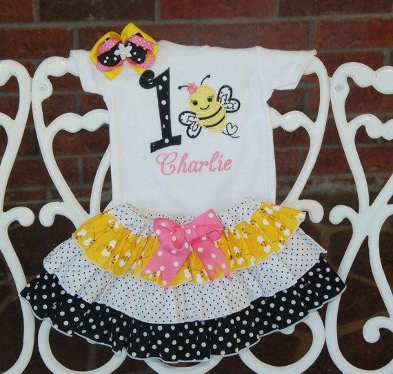 Baby Girl Bumble Bee Birthday Outfit Bee First by RuffleDarlings