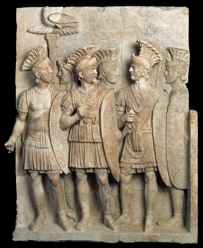 The Preatorian guard of Augustus, Roman relief (marble), 1st century AD, (Musée du Louvre, Paris).