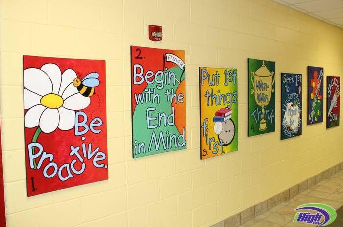 7 Habit Canvases: 7 Habits, School Hallways, Public Schools, Leader In Me Murals, Schools Ideas, Bulletin Boards, Canvas, Schools Hallways, Classroom Ideas