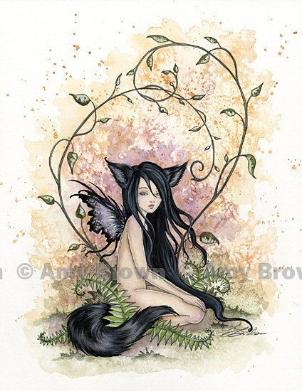 Little Wolf Sister Fairy 85x11  PRINT by Amy Brown by AmyBrownArt, $14.00