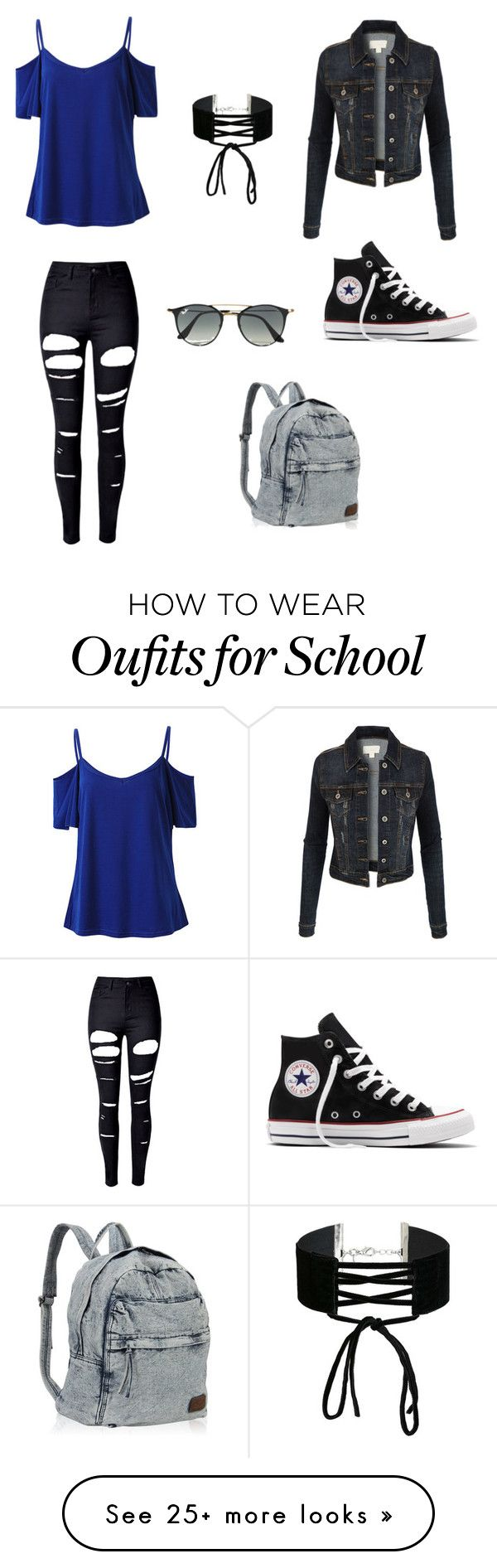 """""""Rock, street style"""" by explorer-2005 on Polyvore featuring WithChic, LE3NO, Miss Selfridge, Ray-Ban, Converse and plus size clothing"""