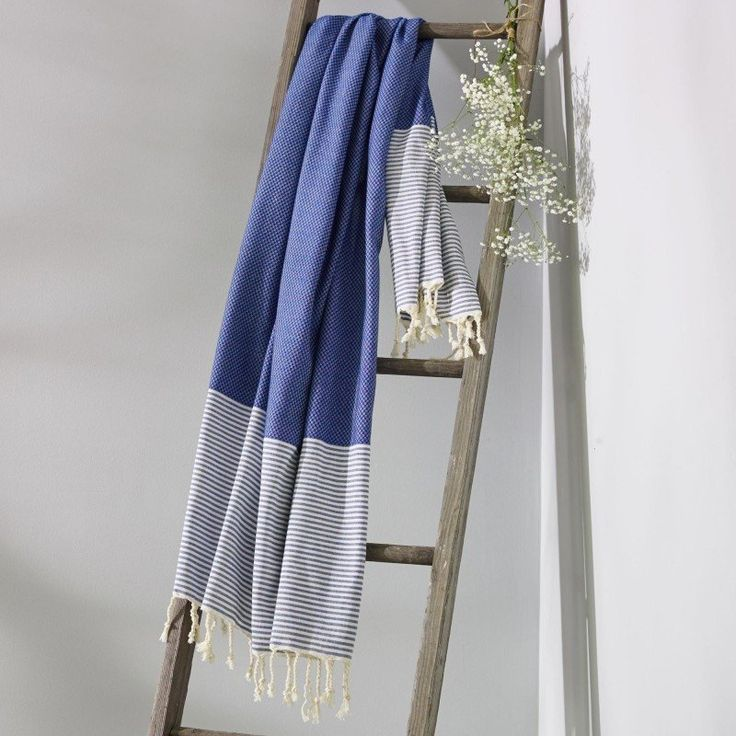 Collective Sol Turkish Towel - Freshwater Sailor Blue & White