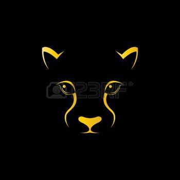 Vector de imagen de una cara cheetah sobre fondo negro photo