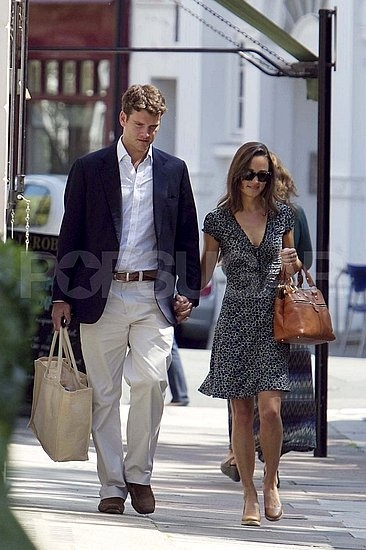 Pippa Middleton and Alex Loudon held hands yesterday on their way to watch a cricket match at London's Lords Cricket grounds. Pippa is hanging out in England with pals and family while her sister Kate is off in Canada with her husband Prince William.