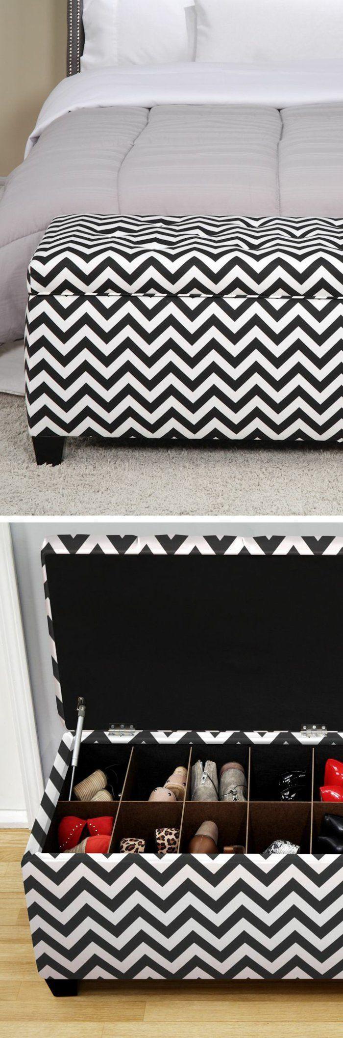 banquette bout de lit avec coffre a rayures blancs noirs