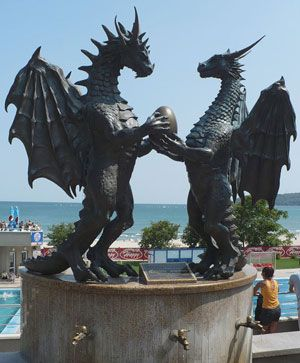 Dragons (male and female) with egg of knowledge (Earth) Varna, Bulgaria - good sculpture for garden