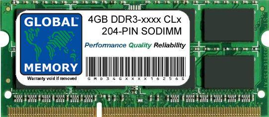 4GB DDR3 1066/1333/1600MHz 204-PIN SODIMM MEMORY RAM FOR LAPTOPS/NOTEBOOKS