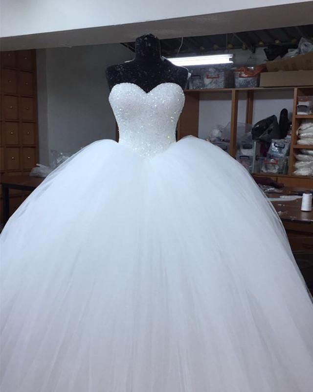 Bling Bling Sweetheart Bodice Corset Tulle Ballgowns Wedding ceremony Gown