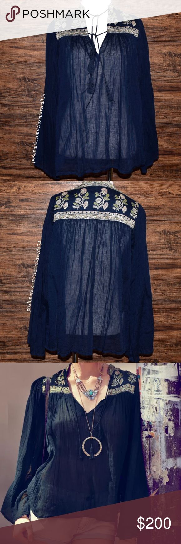 FREE PEOPLE Classic Top Patterned Bohemian Blouse Size XS. Excellent Condition. $128 MSRP + Tax.  • Beautiful & sophisticated, this crinkled bohemian peasant-style blouse features muted floral printed detailing & swingy, loose-fitting silhouette. • Tassel ties at v-neckline.  • Long sleeves. • Unlined.  • FP ONE. • No rips, stains, tears, holes.   • Measurements provided in comment(s) section below  {Southern Girl Fashion - Closet Policy}  ✔️ Same-Business-Day Shipping (10am CT). ✔️ Price…