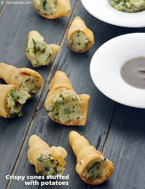 Crispy Cones Stuffed with Potatoes recipe | Vegetarian Recipes | by Tarla Dalal…