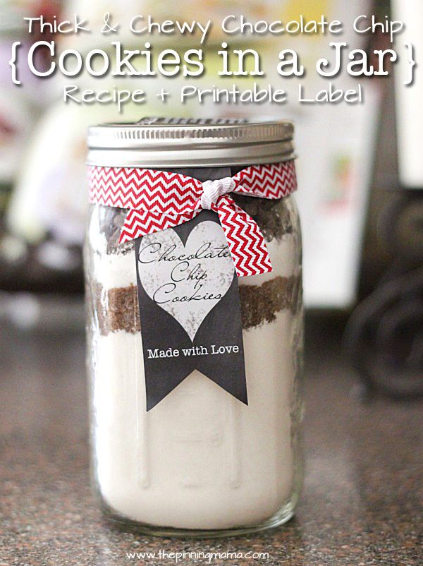 Thick & Chewy Chocolate Chip Cookies in a Jar {Recipe + Printable Label} - The gift version of our top recipe- pinned over 150K times!