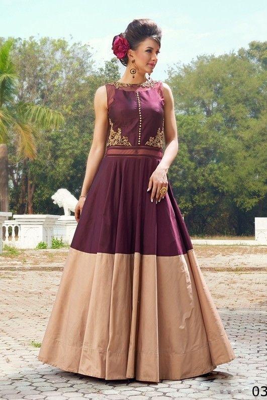 Partywear Designer Maroon and cream Tapeta Silk Handworked Gown