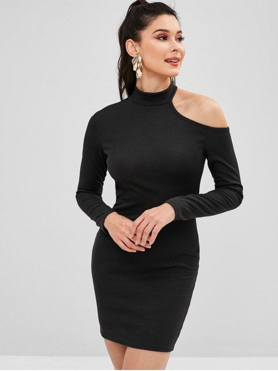 4e4a4ce9572e Cut Out One Shoulder Mini Bodycon Dress - Black L