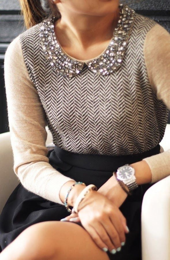 Preppy and glamorous look by J.Crew herringbone jewel collar sweater! Classy and chic outfit