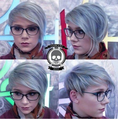 Kies in jouw korte model eens voor een grijze haarkleur en creëer zo een frisse en trendy look! - Kapsels voor haar
