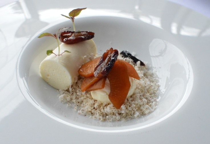 Honey poached apricot, hazelnut, grape & creme fraiche