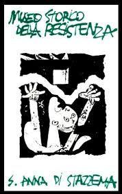 """Logo Museo storico della Resistenza di Sant'Anna di Stazzema. Istituto statale d'arte """"Stagio Stagi"""" di Pietrasanta, 1991."""
